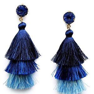 Layered Tassel Earrings in Blue